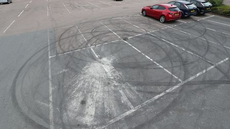 Tyre marks seen at the Roaring Meg car park near the scene of a crash on Monkswood Way. Picture: YUI