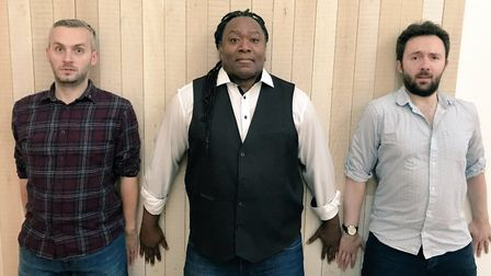Reginald D Hunter with Glyn Doggett (left) and David Ephgrave (right). The stand-up comedian will ap
