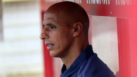 Stevenage manager Dino Maamria seen during the home defeat to Exeter City at the start of the season