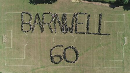 Barnwell at 60: An overhead drone captures the stunning whole school image. Picture: Chris Hornby