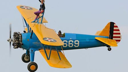 On Sunday Geraldine will be strapped to a biplane for a nail-biting wing walk.
