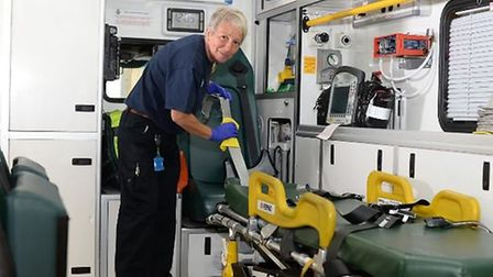 Make ready supervisor Petra Dores prepares an ambulance for a shift. Picture courtesy of EEAST.