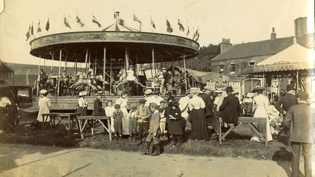 One of the steam powered merry-go-rounds pictured in 1907