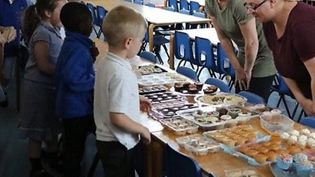 The cake sale was a huge success, raising more than £420 for the fundraiser. Picture: Purwell School
