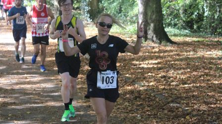 Stevenage 10k 2019: Runners going along the tree-lined section which runs parallel with Martins Way.