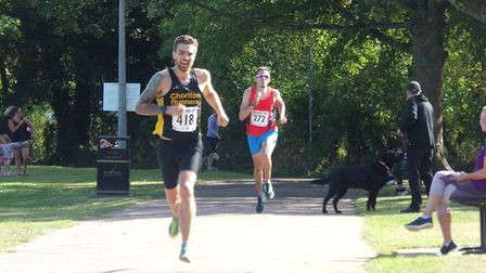 Stevenage 10k 2019: Race winner Oliver Wallace on the home stretch, with second place finisher Sean