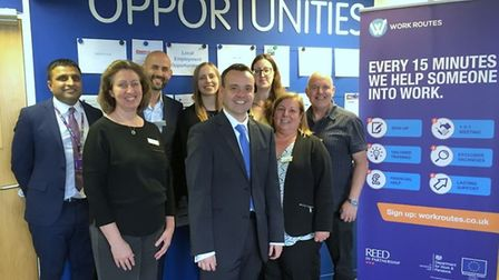 Stevenage MP Stephen McPartland when he met the team at Reed in Partnership and SPS Training Solutio