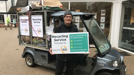 The recycling service provided by Hitchin BID displayed in the town centre. Picture: Hitchin BID