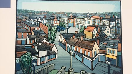 A print vista of Hitchin painted by local artist Cathy Smale. Picture: Hitchin BID