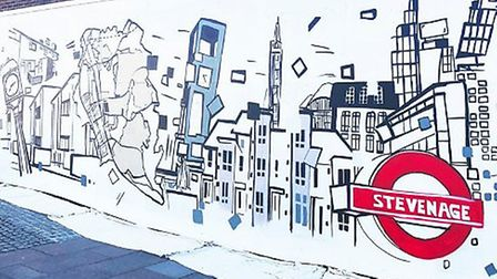 A new mural has been installed in Stevenage town centre to mark the past, present and future of the