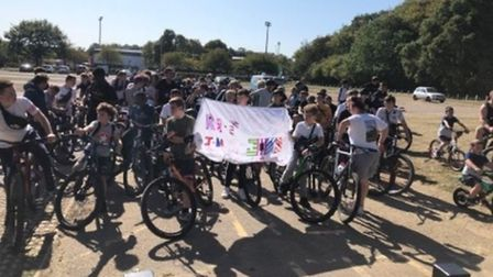 The riders ready to set off from Fairlands Valley Showground. Picture: Brenda Turner.