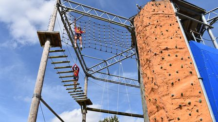 Stevenage FC's U18s took part in a team building challenge with the high ropes at Fairlands Valley P