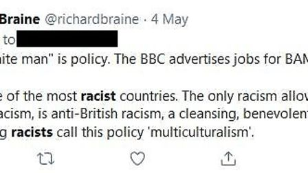 """The UK is one of the most racist countries - but it's to do with """"anti-British racism"""", tweeted Brai"""