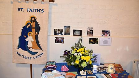 The Mothers' Union display complete with hats and scarves. Picture: Allan Millard