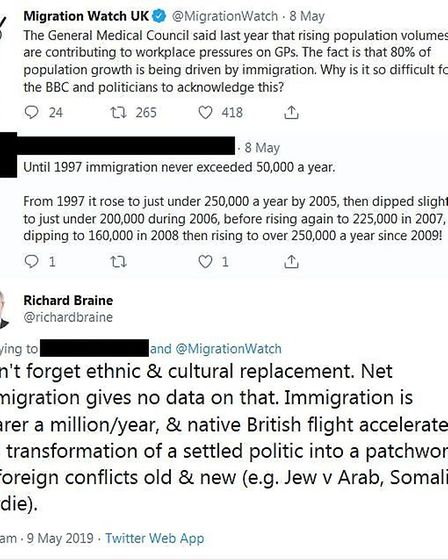 """Braine worried about """"ethnic and cultural replacement"""" in a conversation with pressure group Migrati"""