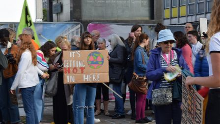 Teenagers, children and adults turn out to the Stevenage Climate Strike in the Town Square on Friday