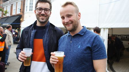 Beer and World Food Festival Letchworth - John Pickton and Johnny enjoy a pint.