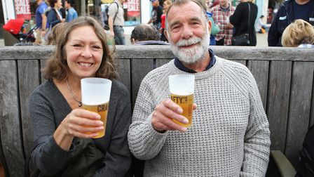 Beer and World Food Festival Letchworth - Dawn and Bob Hadaway enjoy a beer.
