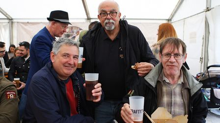 Beer and World Food Festival Letchworth - Steve, Bob and John enjoy the festival.