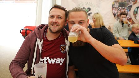 Beer and World Food Festival Letchworth - Michael and Josh enjoy a pint of beer.