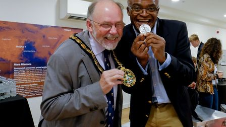Stevenage mayor Simon Speller with Olympian Kriss Akabusi at the launch of the Flying Challenge prog