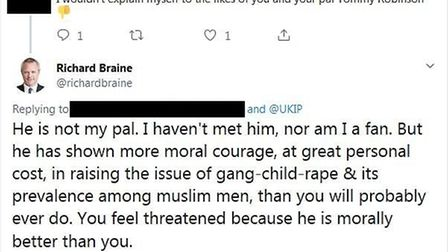"""Braine on the """"moral courage"""" of Tommy Robinson, who was previously an advisor to UKIP's former lead"""