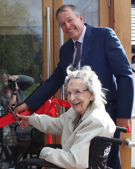 Peter Dacey and Rose Ridgewell open the refurbished hall. Picture: GARY BROWN
