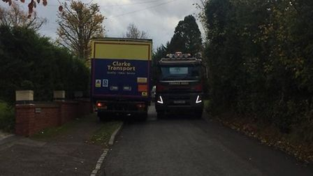 HGVs passing through Pirton during construction in 2018. Picture: Archant