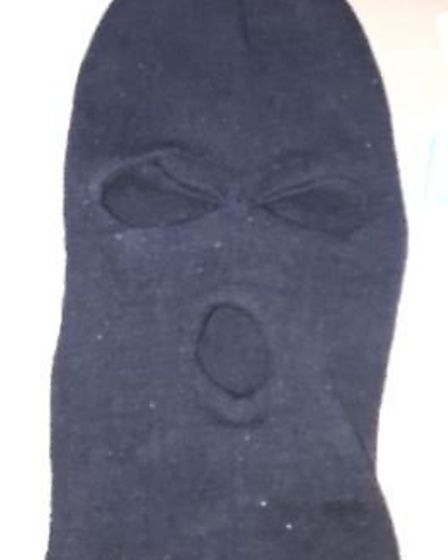 Irvine wore a balaclava to carry out the attack. Picture: courtesy of Bedfordshire Constabulary.