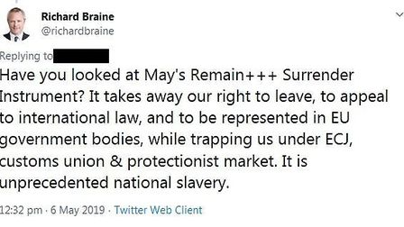 """Braine opposed Theresa May's withdrawal agreement, calling it """"national slavery"""". Picture: Twitter"""