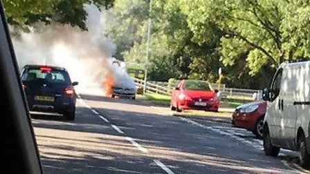 Fire crews are at the scene of a car fire in Colestrete in Stevenage. Picture: Supplied