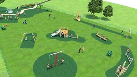 A computer-generated graphic of the proposed play area at Swinburne recreation ground in Hitchin. Pi