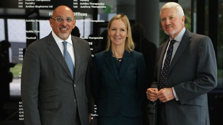Nadhim Zahawi MP, Dr Sally Ann Forsyth, and LEP chairman Mark Bretton, pictured before embarking on