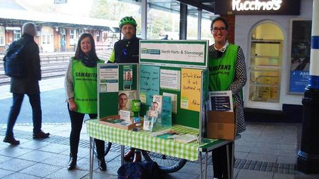Samaritans of North Herts and Stevenage are talking to commuters today about its Real People, Real S