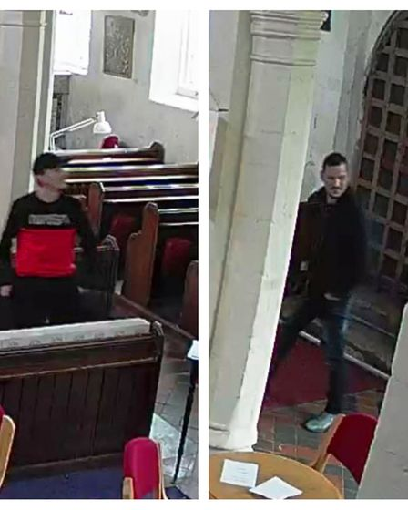 Two men were captured on CCTV breaking a collection box in St Mary's Church. Picture: CONTRIBUTED