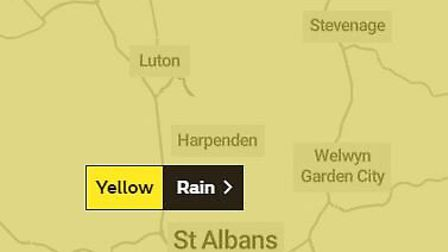 The yellow warning will be in place from 12 noon today until midnight tonight, Picture: The Met Offi