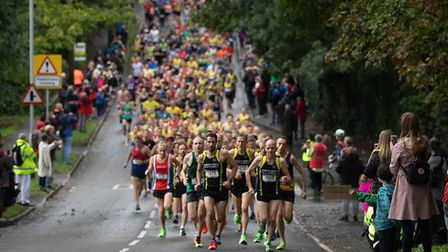 North Herts Road Runners lead the way at the start of the 2019 Standalone 10k. Picture: Ollie Savill