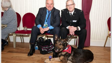 North East Herts MP Sir Oliver Heald with PC Dave Wardell and PD Finn at the IFAW Animal Action Awar