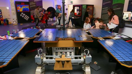"""Mar Rover prototype """"Bridget"""" on display to visitors to the Space Saturday event at the Airbus Found"""