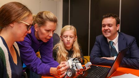 Stevenage MP Stephen McPartland with visitors to the Space Saturday event at the Airbus Foundation D