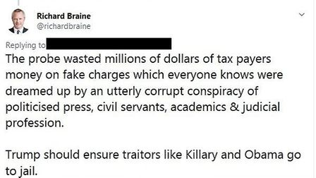 """In a Twitter conversation about the Mueller probe, Braine said that """"Killary"""" and Obama should be in"""