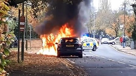 Video footage has captured the moment police and fire crews arrive at the scene of van blaze in Stev