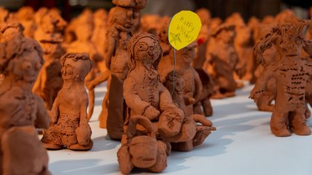 Pupils have worked hard on their Community in Clay installation. Picture: Courtesy of Woolenwick Inf