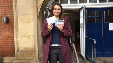 Anni Sander - local Green Party member and leader of Plastic Free Hitchin - outside Hitchin Town Hal