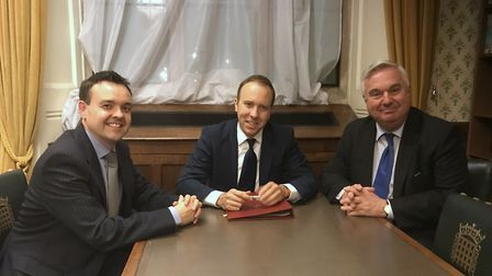 Stevenage MP Stephen McPartland with health minister Matt Hancock and North East Herts MP Sir Oliver
