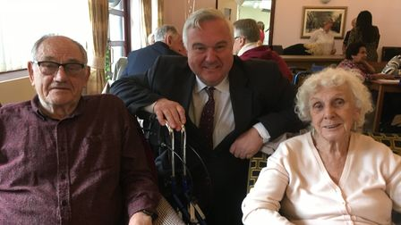 Arthur Lane and Thelma Kitchener at the Feel Good Friday event with Sir Oliver Heald