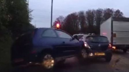 A Vauxhall Corsa crashed into the back of a stationary car at an A1(M) Junction 8 slip road for Stev