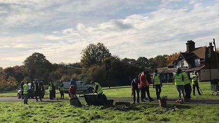 Conservationists and volunteers gave the Symonds Green pond some much-needed TLC last week. Picture: