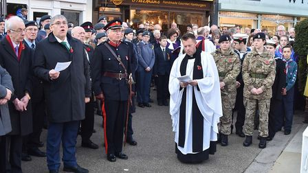 Hitchin's Remembrance Sunday service at the war memorial outside St. Mary's. Picture: ALAN MILLARD