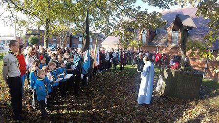 St. Faith's Church in Hitchin held their own service of Remembrace on Sunday. Picture: ALAN MILLARD